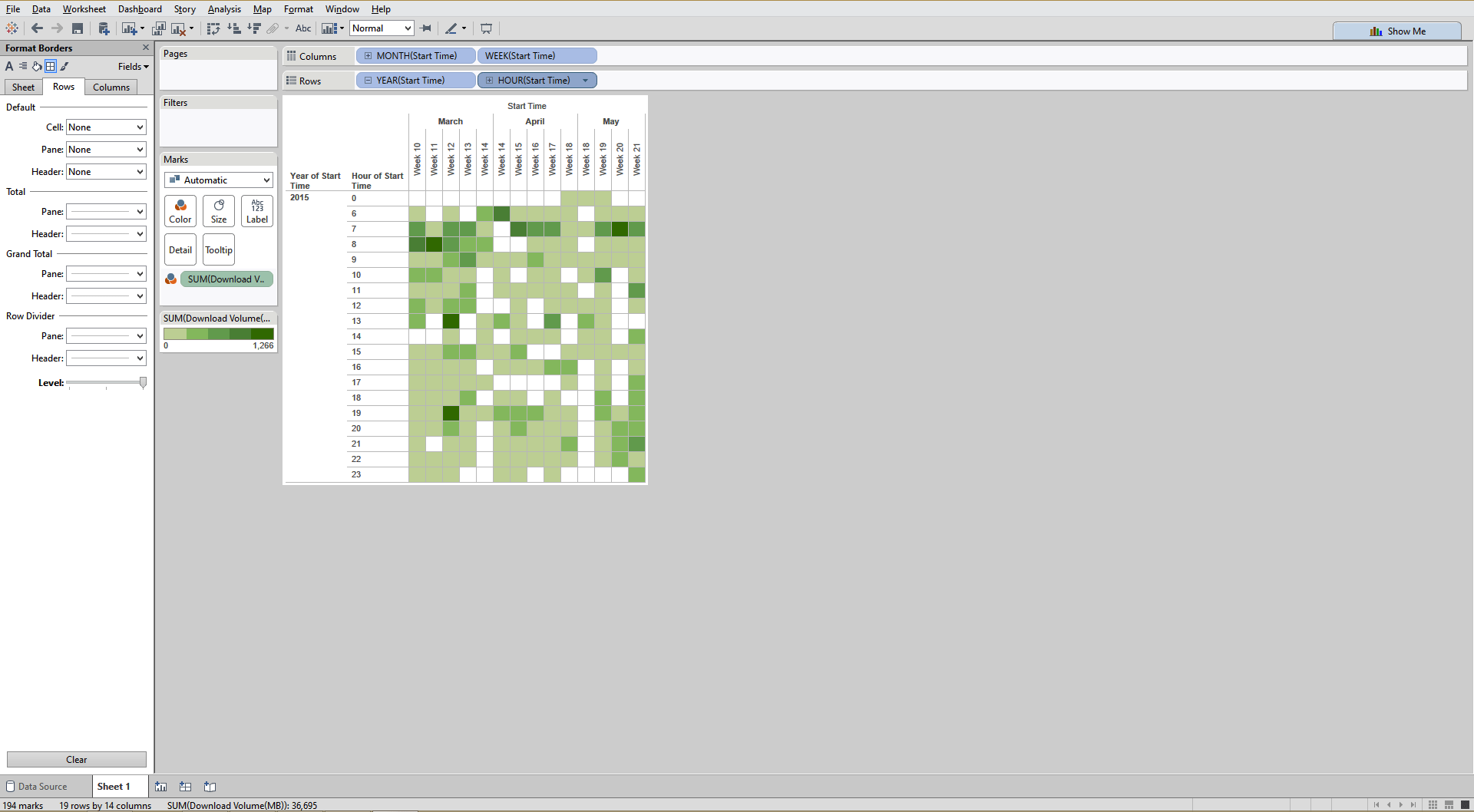 creating time heatmap in  tableau