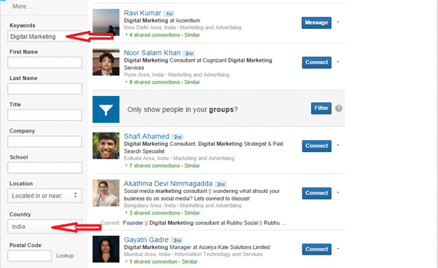 Searching for recruiters on LinkedIn